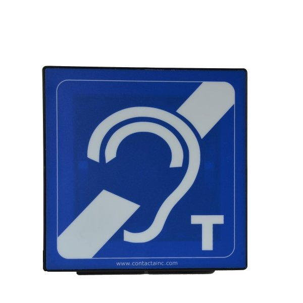 Above the counter aerial in housing with hearing loop sign