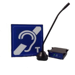 HLD2, IL-AE96 Aerial mounted in a housing with blue hearing loop sign, stand, adhesive foam pad, power supply and M300 microphone