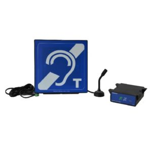HLD2, IL-AE96 Aerial mounted in a housing with blue hearing loop sign, stand, adhesive foam pad, power supply and M72 microphone