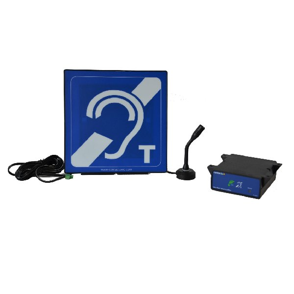 HLD2, IL-AE96 Aerial mounted in a housing with blue hearing loop sign, stand, adhesive foam pad, power supply and M73 microphone